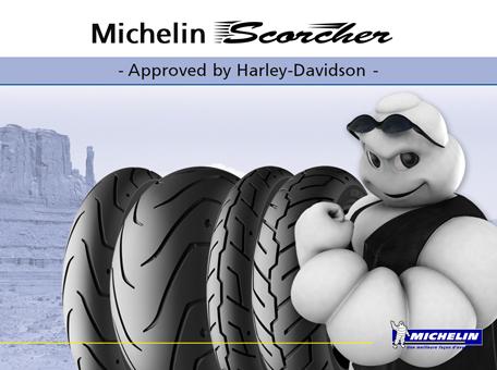 Michelin et Harley libéralisent leurs pneus Michelin Scorcher 31, 32, 11